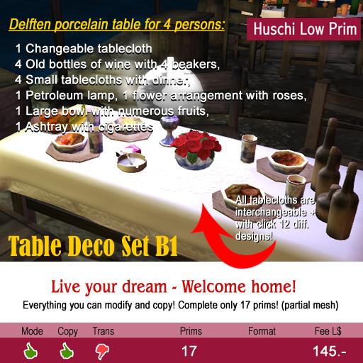 Huschi, Big Dinner Table-set B1, 22 Prim
