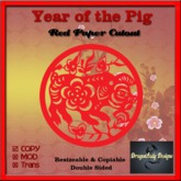 Year of the Pig - Red Paper Cutout