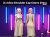 [S] Alina Shoulder Cap Sleeve Dress Beige