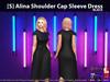 [S] Alina Shoulder Cap Sleeve Dress Black