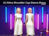 [S] Alina Shoulder Cap Sleeve Dress White