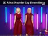 [S] Alina Shoulder Cap Sleeve Dress Red