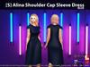 [S] Alina Shoulder Cap Sleeve Dress Blue