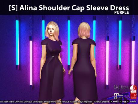 [S] Alina Shoulder Cap Sleeve Dress Purple