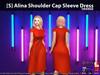 [S] Alina Shoulder Cap Sleeve Dress Orange