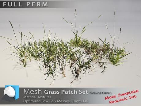 "[Prim 3D] - Grass Patch Set ""FULL PERM"""