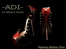 Weekend offer 50L -ADI-My Wicked Spiked Shoes Maitreya Belleza Slink Black with Red Laces