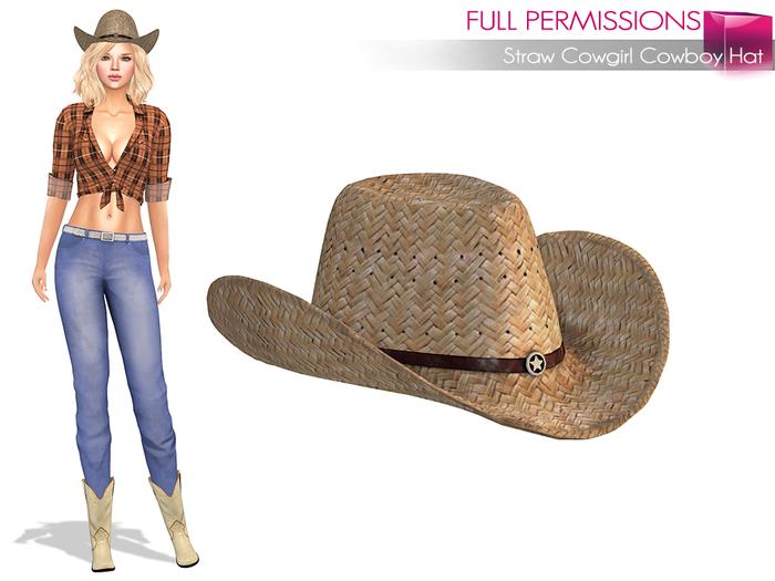 Full Perm Straw Cowgirl Cowboy Hat - None Rigged