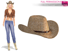 %50SUMMERSALE Full Perm Straw Cowgirl Cowboy Hat - None Rigged