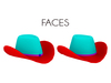 Faces straw cowgirl cowboy hat