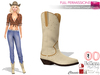 Full Perm Beige White Cowgirl Boots