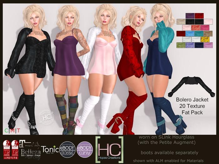 [HC] Fallon Bolero Jacket Fat Pack for Slink (inc. Petite), Belleza, Maitreya, eBody & Tonic