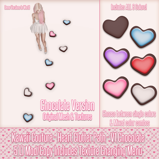 Kawaii Couture - Clutter Heart Path V1- Chocolate
