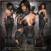 {AS} Antiope Fitted Mesh Leather Outfit: Black; Amazon, Warrior, Queen, Princess, Greek, Bento, Maitreya, Physique