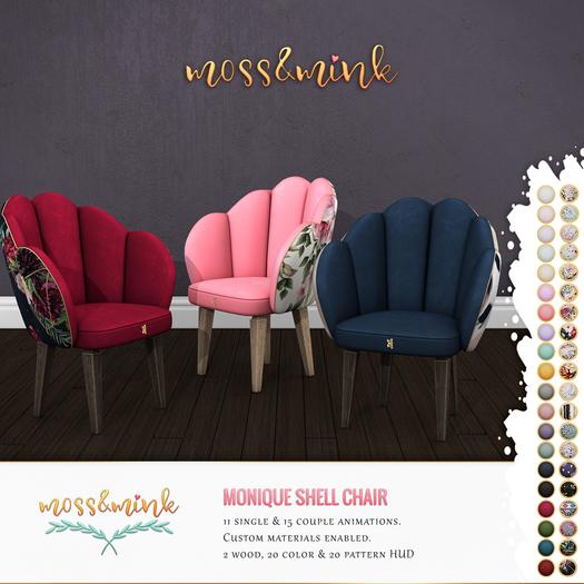 {moss&mink} Monique shell chair