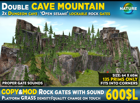 Double cave mountain with platform and rock gates: Full scene with cliff hills, trees, plants and hidden dungeon caves
