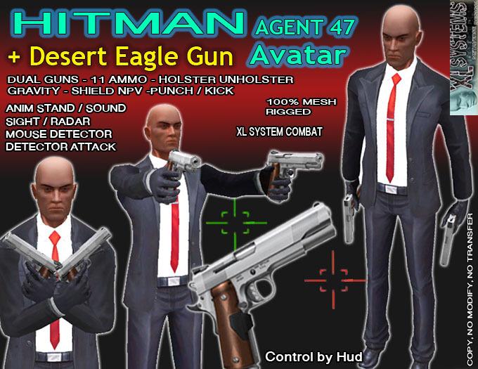 Second Life Marketplace Hitman Avatar Desert Eagle Gun