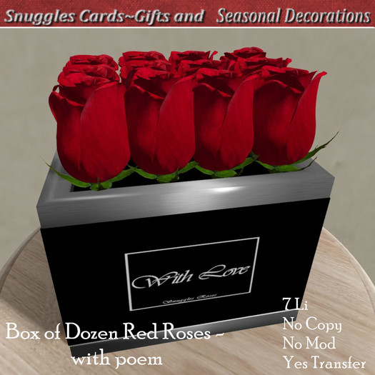 Box of Dozen Red Roses - with poem