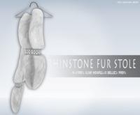 iS Rhinstone Fur Stole WHITE