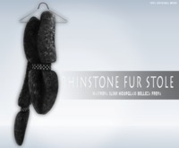iS Rhinstone Fur Stole FOXY BLACK