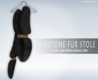 iS Rhinstone Fur Stole BLACK