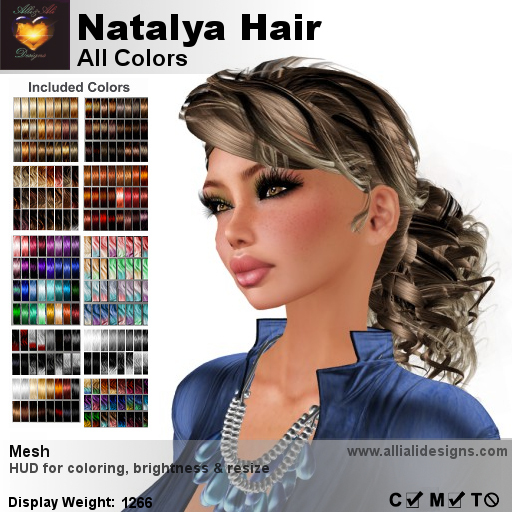 A&A Natalya Hair All Colors V2, lush curly mesh ponytail style