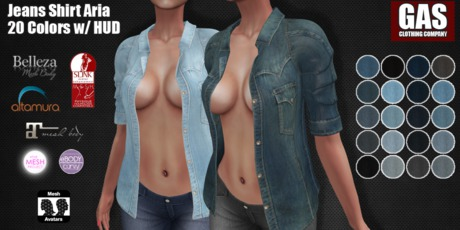 GAS [Open Jeans Shirt Aria - 20 Colors w/HUD FATPACK]