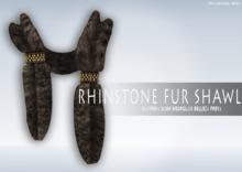iS Rhinstone Fur Shawl BROWN