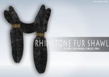 iS Rhinstone Fur Shawl BLACK