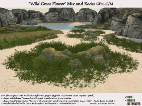 Wild Grass Flowers Mix 7 types + rocks C/M GP16