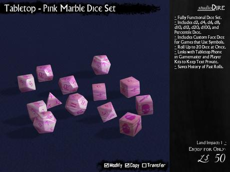 /studioDire/ Tabletop - Pink Marble Dice Set