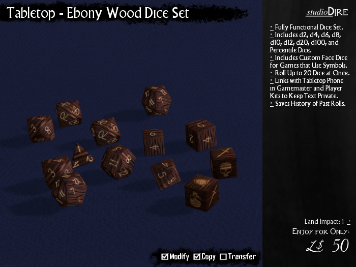 /studioDire/ Tabletop - Ebony Wood Dice Set