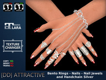 [DD] Bento Rings - Nails - Nail Jewels - Hand Chain Silver Maitreya Complete Hand Set with Texture Changer