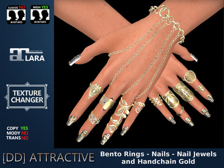 [DD] Bento Rings - Nails - Nail Jewels - Hand Chain Gold Maitreya Complete Hand Set with Texture Changer