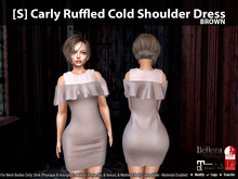 [S] Carly Ruffled Cold Shoulder Dress Brown
