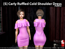 [S] Carly Ruffled Cold Shoulder Dress Purple