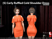 [S] Carly Ruffled Cold Shoulder Dress Orange