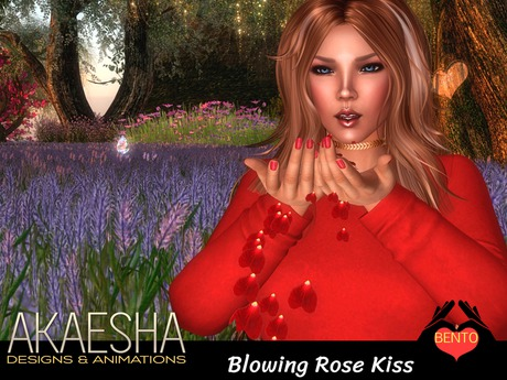 Bento Pose - Blow a Rose Kiss (includes Pile of Rose Petals prop with particle petals)