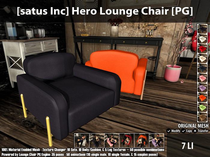 [satus Inc] Hero Lounge Chair [PG] ~ 35 Poses - 50 Animations