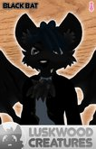 Luskwood Black Bat Avatar - Female - Complete Halloween Furry Avatar