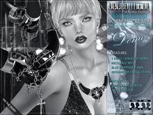 "DEMO - Bella Moda ""Gioiello"" Jewelled Horn Necklace w/ Blue Saphires - Removable Resize & Stretch"