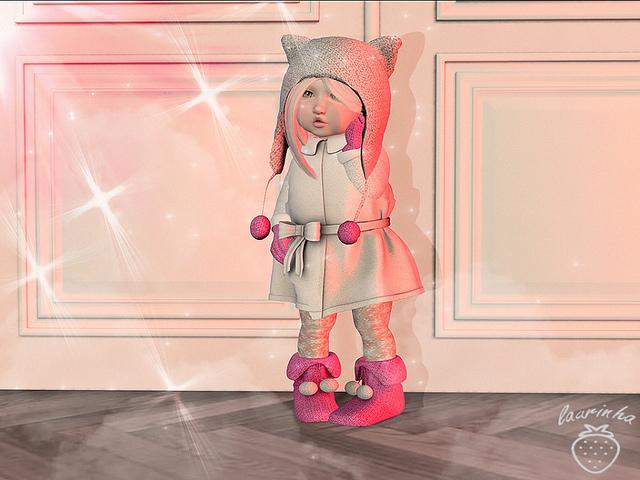 {D:D} Set Coat Cat White /TD baby