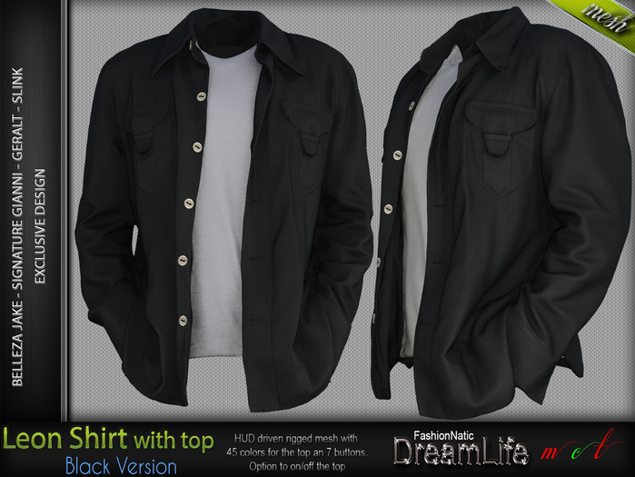 LEON SHIRT BLACK COLOR WITH TOP WITHOUT THE HANDS - MESH - SIGNATURE GIANNI - GERALT, SLINK, BELLEZA JAKE - FashionNatic