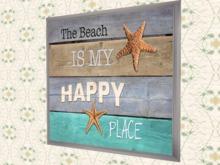 "BEACH ART Nautical Wall Decor ""Beach Happy Place"""