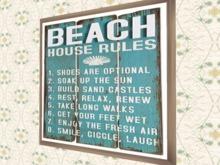 "BEACH ART Nautical Wall Decor ""Beach House Rules"" crafted interior designs for living pleasure, 1 prim furnishings PROMO"