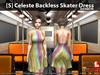[S] Celeste Backless Skater Dress Rainbow