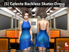 [S] Celeste Backless Skater Dress Blue
