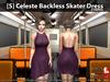 [S] Celeste Backless Skater Dress Stripes