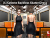 s  celeste backless skater dress black pic