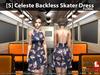 [S] Celeste Backless Skater Dress Floral